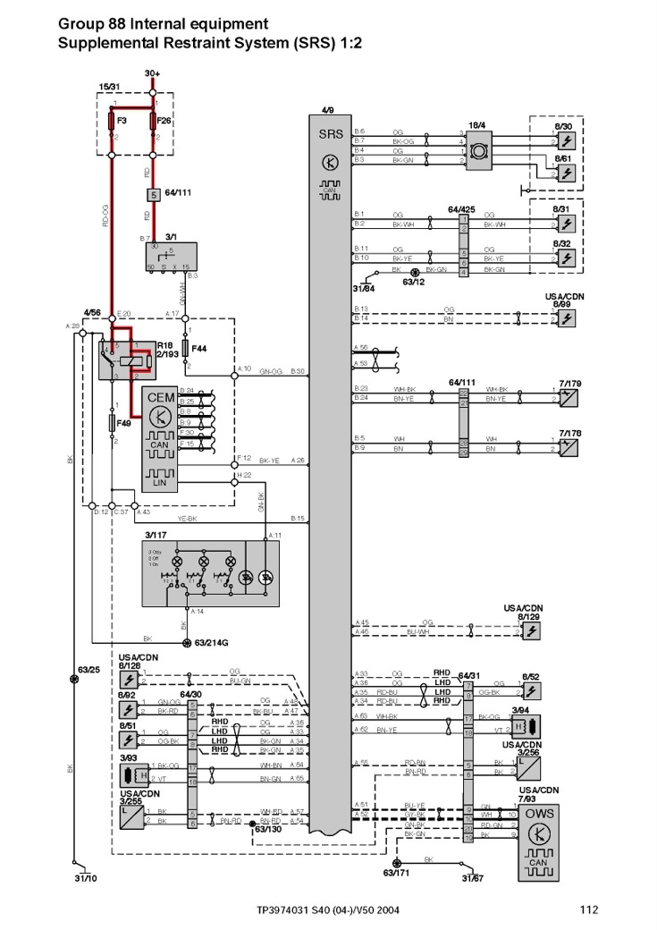 Volvo S40  V50  S60  S70  V70  C70  Xc70  S80  Xc90 Workshop Electrical Wiring Diagram 2004